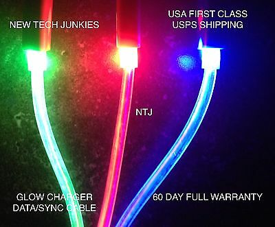 GLOW CHARGER CABLE LED light data sync for iPhone X 8 7 5 5c 6 plus 4s MICRO USB