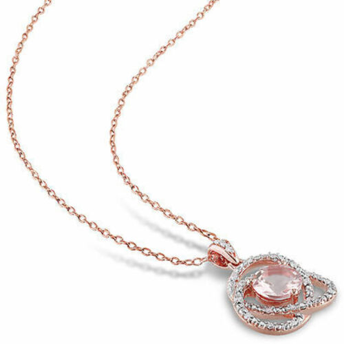 """Pink Sterling Silver Morganite and 1//10 ct TDW Diamond Pendant Necklace 18/"""""""