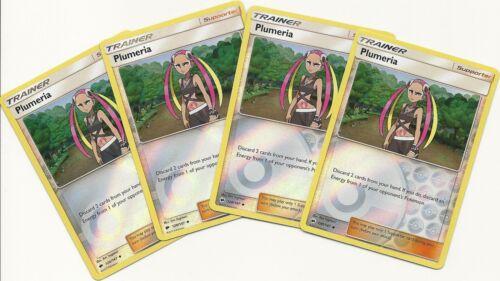 4x PLUMERIA 120/147-BURNING SHADOWS Pokemon Card- PLAYSET -REV HOLO MINT