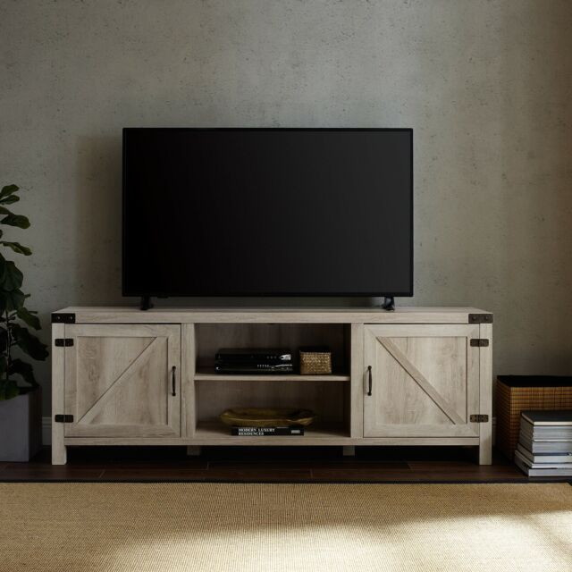 Rustic Entertainment Center Smart 4k Hd Tv Stand Wood Up To 78 White Oak New