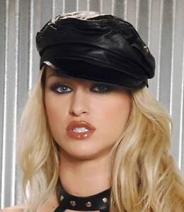Leather Hat Cap Cop Cabby Biker Style Costume Men s Women s Black ... fd761085e03
