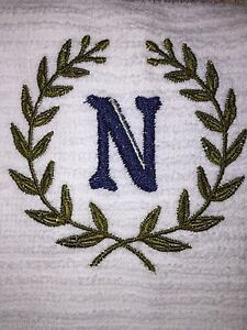 Embroidered Kitchen Hand Towel Wash Cloth Set H1056 Laurel Monogram