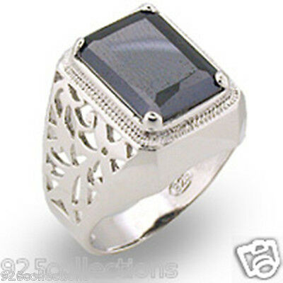 11X9 mm 9 Ct 925 Sterling Silver Filigree Black Gray Solitaire Men Ring Size 13