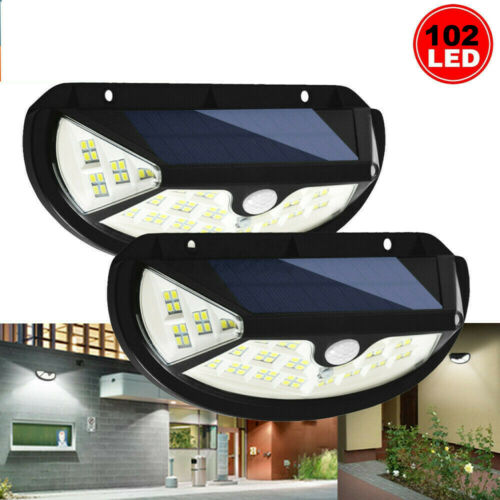 2Pcs LED Solar Motion Sensor Lights Outdoor Security Backyard Fence Garage Porch