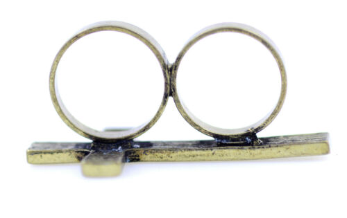 Vintage style antique bronze coloured cross double finger ring