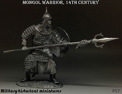 Mongol warrior 14 century, Tin toy soldier 54 mm, figurine, metal sculpture