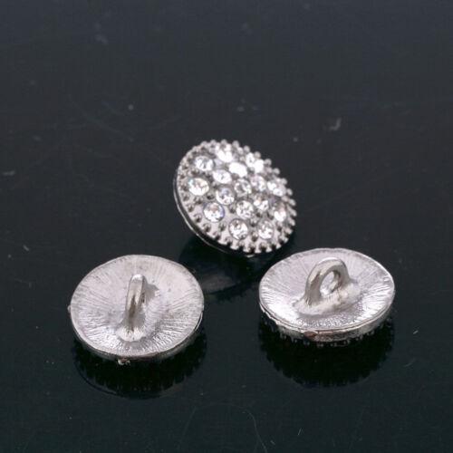 CraftbuddyUS DB7 10 X14mm Silver Buttons Diamanté Rhinestone Crystal Topper Gems