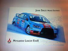 CP POSTCARD CARTOLINA MITSUBISHI LANCER SALO RALLY WRC RALLYE 2010