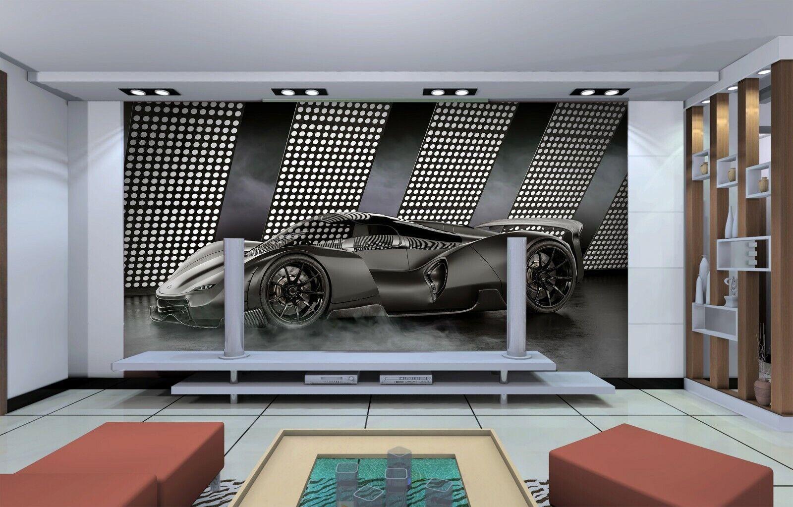 3D Schwarzer Sportwagen C059 Auto Tapete Wandbild selbstklebend abnehmbare Wendy