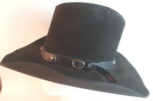 255430932ab Image is loading Western-Cowboy-Hat-Adult-Small-Black-Leather-Concho-