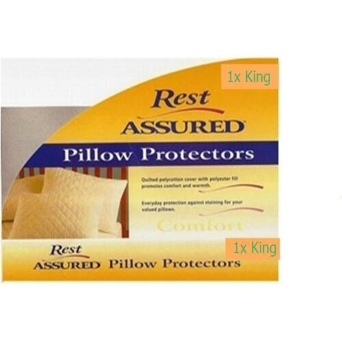 Downia Rest Assured Bedding Quilted Zipped Pillow Protector King Size 50 x 90cm