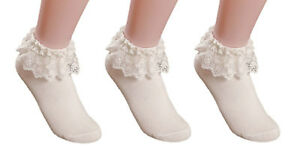 6021b1f47 AM Landen Super Cute 3 pairs Cream Beige Princess Lace Ruffle Frilly Ankle  Socks