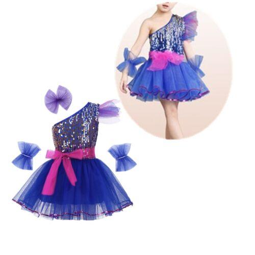 Girls Sequins Dance Dress Kids Modern Jazz Latin Dancewear Costume Tutu Dresses