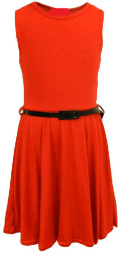 Girls Skater Dress Kids Party Belted Dresses New Age 7 8 9 10 11 12 13 Years