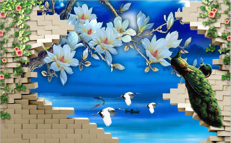 3D Jade Blau Flower Animal Wall Paper Print Decal Wall Deco Indoor wall Mural