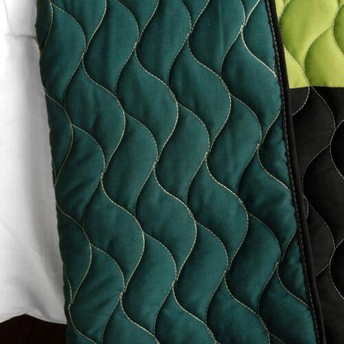 Geometric Blocks Teen Boy Queen Bedding Quilt Set Patchwork Green Yellow Black