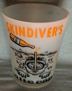 Vintage-barware-frosted-glass-15-ounce-Skindivers-Nite-Cap