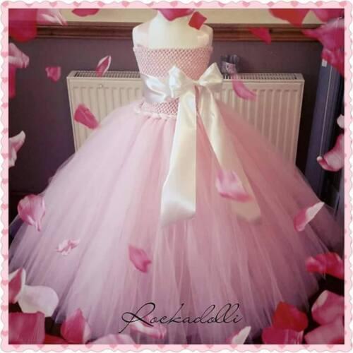 Flowergirl bridesmaid handmade tutu dress with satin vintage classic wedding