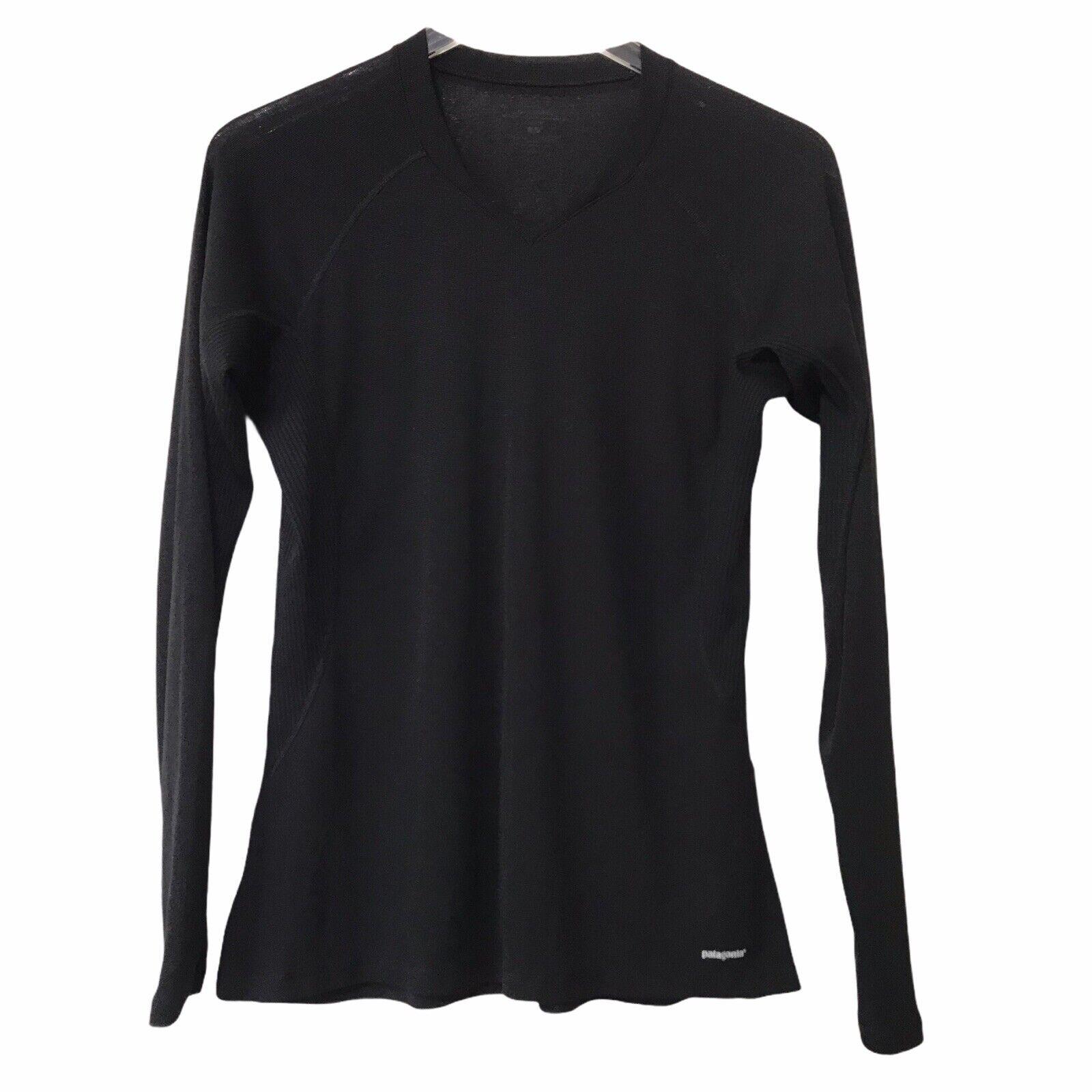 Patagonia Womens Size L Performance Base Layer Capilene Long Sleeve Shirt Black