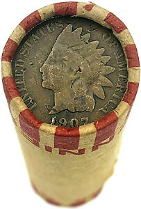 Indian-Head-Penny-on-Wheat-Cent-Roll-Rare-OLD-US-Cents-Mixed-Dates-Pennies-Coins