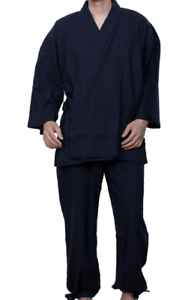 Japanisch Samue Herren Traditionell Arbeitskleidung Yoryu Cotton Kimono Navy Von