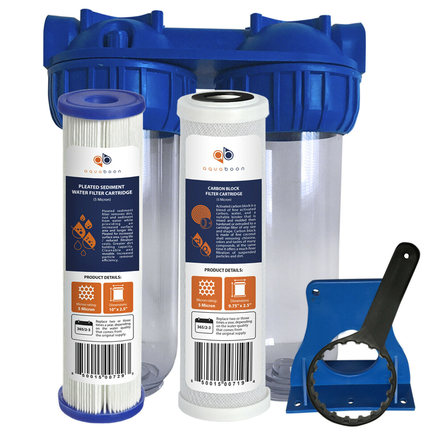 Aquaboon 2-Stage 10  Water Filtration System (Includes Pleated & Carbon Filters)