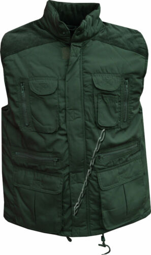 Mens 13 Pocket  Lined Padded Gilet Bodywarmer Body Coat Country Hunting Shooting