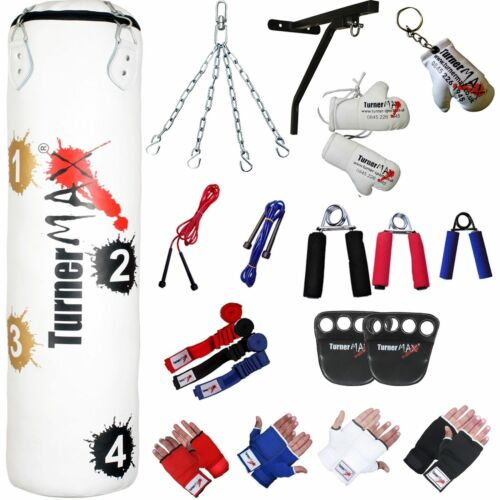 Muro Staffa TurnerMAX target Punch Bag Set 13 pezzi Catene MMA Guanti WRAPS