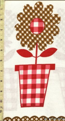 Brown Check Flowers W// Red Check Flower Pots FULL FEEDSACK