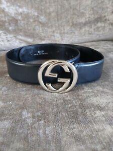 Vintage-Gucci-GG-Buckle-Black-Leather-Belt