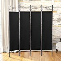 4 Panel Screen Room Divider Fabric Metal Frame Folding Partition Privacy Black