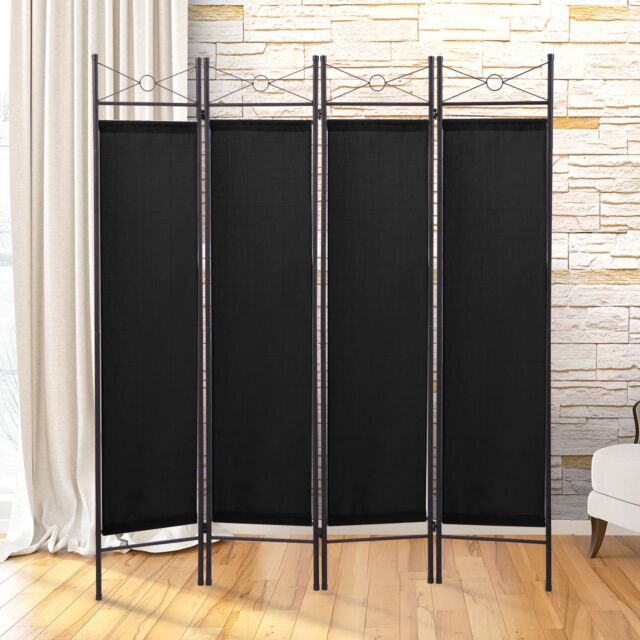 4 Panel Screen Room Divider Fabric Metal Frame Folding Parion Privacy Black