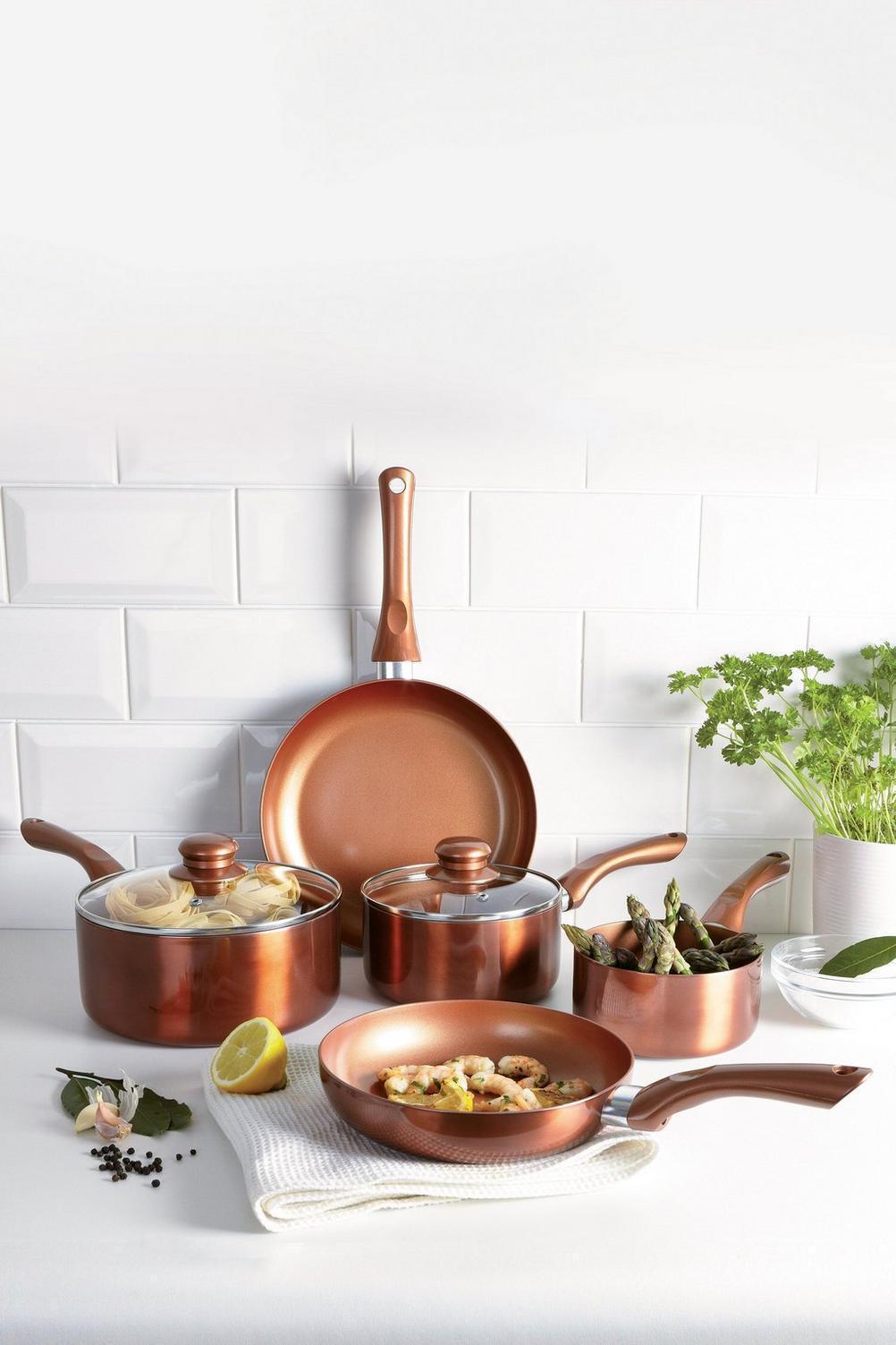 5-Piece Copper Coated Ceramic Pan Set
