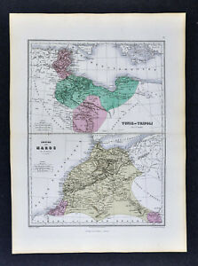 1877-Migeon-Map-Morocco-amp-Tunis-Lybia-Tripoli-Tangier-Casa-Blanca-North-Africa