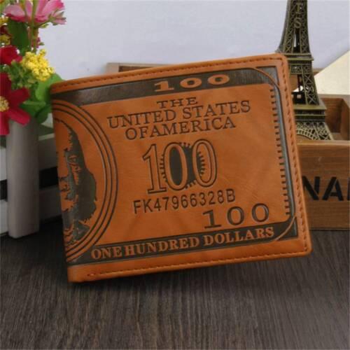 "US /""$100/"" DOLLAR Bill Leather Bifold Wallet FOR MEN Cash ID Slots Card HOLDER US"