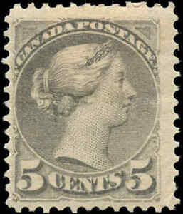 Mint-H-Canada-F-Scott-42-5c-1888-1897-Small-Queen-Issue-Stamp