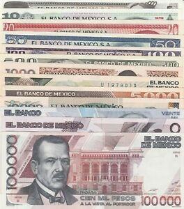 El Banco de Mexico: Complete Set of Collection 13 Bank Notes UNC.