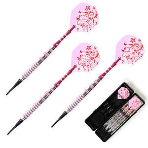 Soft-Tip-Darts-17g-Brass-Barrels-Red-Shafts-Pink-Flights-Girl-lady-Darts-K5U4