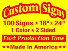 100 18x24 Double Sided Custom Yellow Coroplast Yard Signs