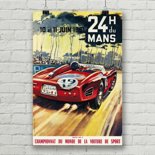 24 Hours of Le Mans Vintage Racing Poster Canvas Art Print Ferrari Formula One