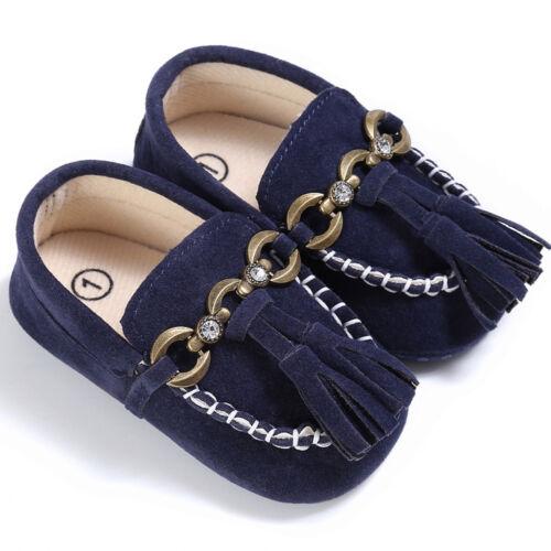 Baby Newborn Girls Boys Soft Crib Sole Slip On Loafers Prewalker Tassels Shoes