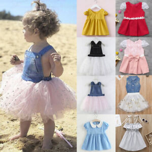 36fb0a722f54 Image is loading Toddler-Kids-Baby-Girl-Clothes-Princess-Sleeveless-Ruffle-