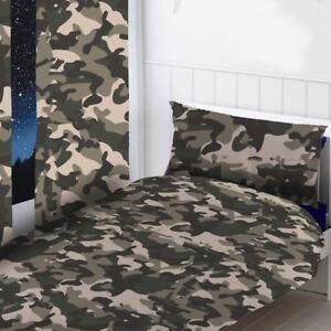 Gris Camouflage Rideaux Prêt à L\'em Ploi Enfants Militaire 168cm X ...