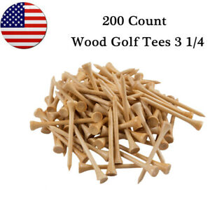 Golf-Tees-3-1-4-Wooden-Natural-Wood-200-Count-83mm-Length-Golfer-Gift-US-Stock