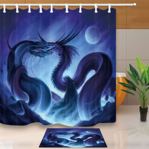 Two Kissing Dragons Bath Shower Curtains Bathroom Waterproof Accessories 71/'/'