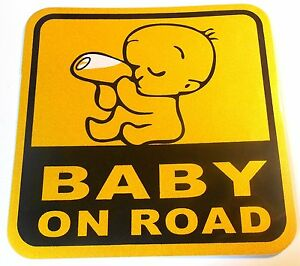 PRESKIN-Aufkleber-BABY-ON-ROAD-Sticker-reflektierend-fuer-Auto-Fenster-Tueren