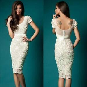 Short Lace Sheath Bridal Gown Sheer White Ivory Knee Length Wedding Dress Custom Ebay