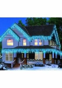 Holiday Time Icicle Christmas Lights Blue 300 Count