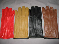 Stylish Ladies Genuine Leather Gloves Snap Lined Assorted Colors Large