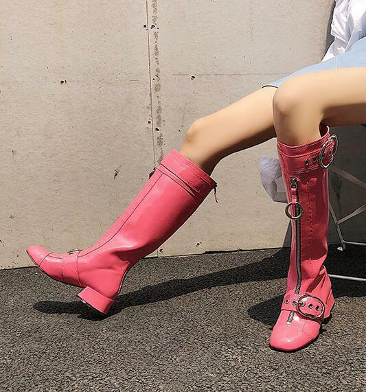 Damenschuhe Patent Riding Leder Zipper Front Buckle Strap Knee High Riding Patent Stiefel Schuhes F97 5ef6c6